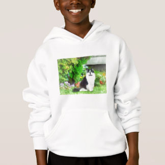Black and White Cat by Flowers Hoodie