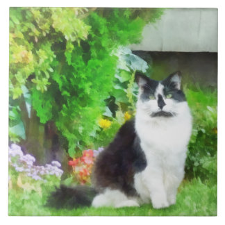 Black and White Cat by Flowers Tile