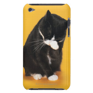 Black and White Cat cleaning face with paw iPod Touch Case