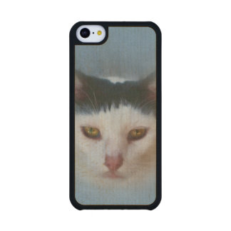 Black and White Cat, Customizable Carved® Maple iPhone 5C Slim Case