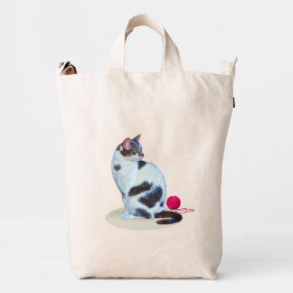 Black and White Cat, Customizable Duck Bag