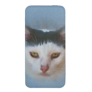 Black and White Cat, Customizable iPhone 5 Pouch