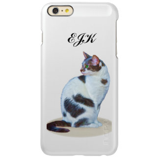 Black and White Cat, Customizable Monogram Incipio Feather® Shine iPhone 6 Plus Case