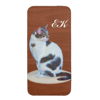 Black and White Cat, Customizable Monogram iPhone 5 Pouch