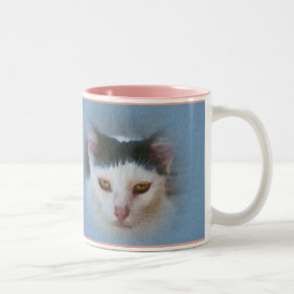 Black and White Cat, Customizable Two-Tone Coffee Mug