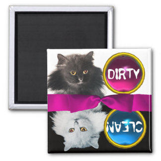 BLACK AND WHITE CAT DIRTY CLEAN MAGNET