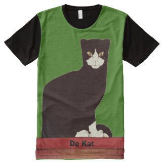 Black and White Cat Dutch Art All-Over-Print T-Shirt