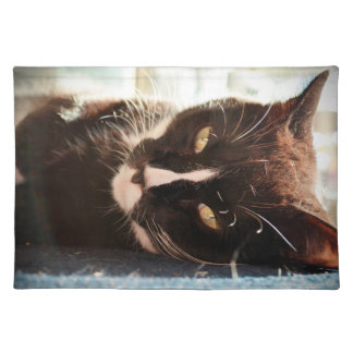 black and white cat face animal photo yellow eyes placemat