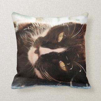 black and white cat face animal photo yellow eyes throw pillow