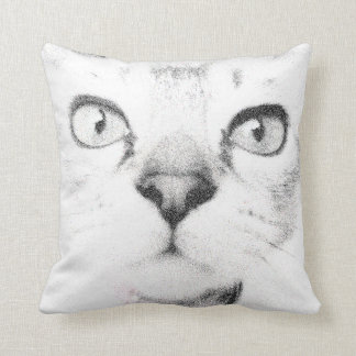 """""""Black and White Cat Face Features"""" throw pillow"""
