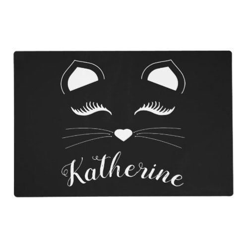 Black and White Cat Face Placemat