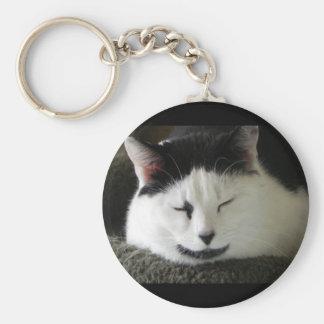 Black and White Cat Humor Keychain
