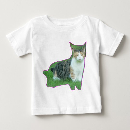 Black and White cat in grass Baby T-Shirt