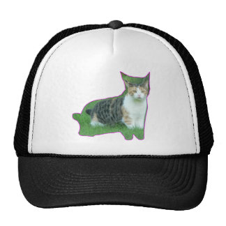 Black and White cat in grass Trucker Hat