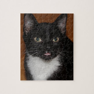BLACK AND WHITE CAT JIGSAW PUZZLE