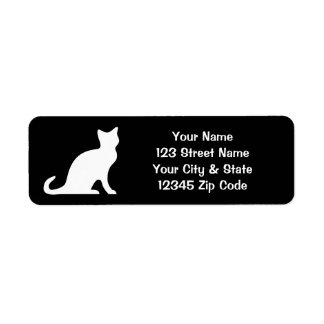 Black and white cat labels with custom address