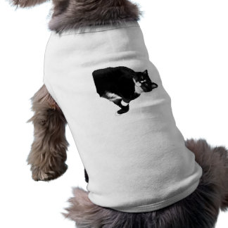 Black and White Cat Looking Up Cutout Tee