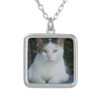 black and white cat personalized necklace