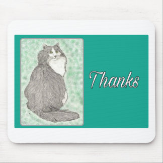 Black and white cat on green background-Thank You Mouse Pad