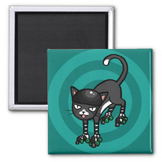 Black and white cat on Rollerskates 2 Inch Square Magnet