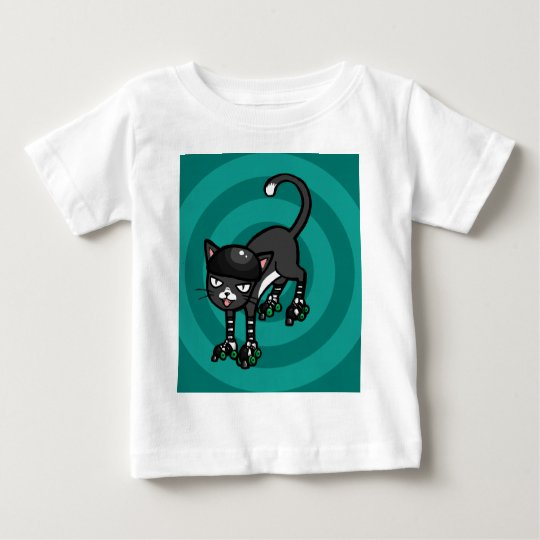 Black and white cat on Rollerskates Baby T-Shirt
