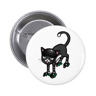 Black and white cat on Rollerskates Button