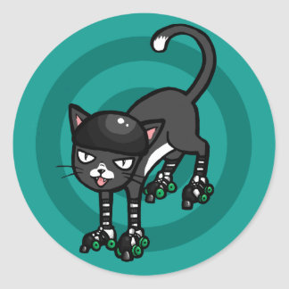 Black and white cat on Rollerskates Classic Round Sticker