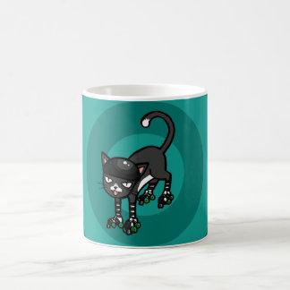 Black and white cat on Rollerskates Classic White Coffee Mug
