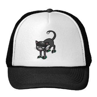 Black and white cat on Rollerskates Cap