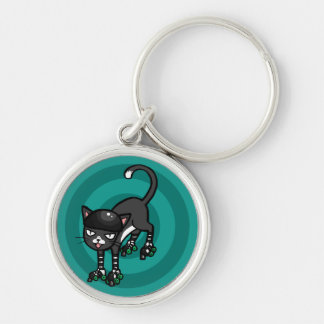 Black and white cat on Rollerskates Keychain