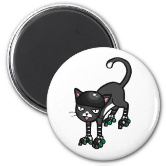 Black and white cat on Rollerskates 2 Inch Round Magnet