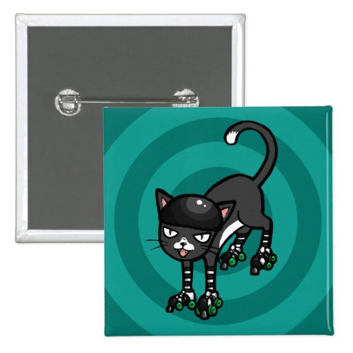 Black and white cat on Rollerskates Pin