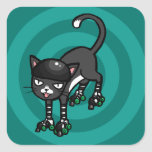 Black and white cat on Rollerskates Stickers