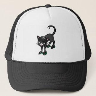 Black and white cat on Rollerskates Trucker Hat