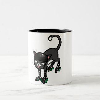 Black and white cat on Rollerskates Two-Tone Coffee Mug