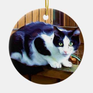Black and White Cat ornament