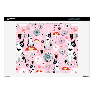 """Black and White Cat Pattern For Cat Lovers 14"""" Laptop Decal"""