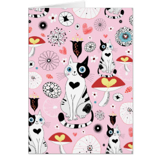 Black and White Cat Pattern For Cat Lovers Card
