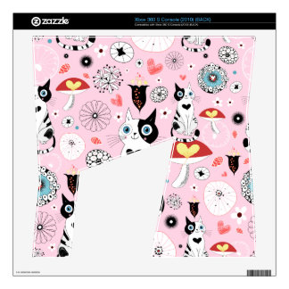 Black and White Cat Pattern For Cat Lovers Skin For The Xbox 360 S