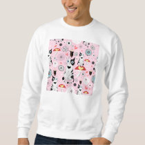 Black and White Cat Pattern For Cat Lovers Sweatshirt