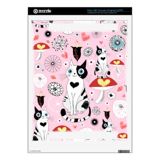 Black and White Cat Pattern For Cat Lovers Xbox 360 Decal