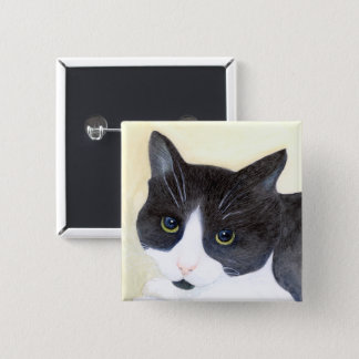 Black and White Cat Pinback Button