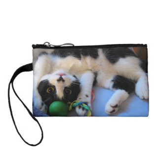 Black and white cat - playful cat - Funny cat Change Purse
