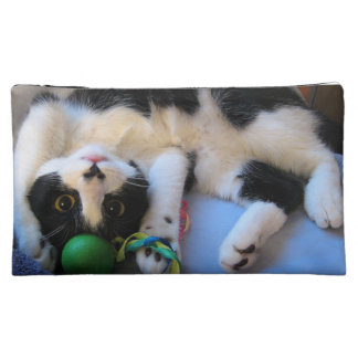 Black and white cat - playful cat - Funny cat Cosmetic Bag