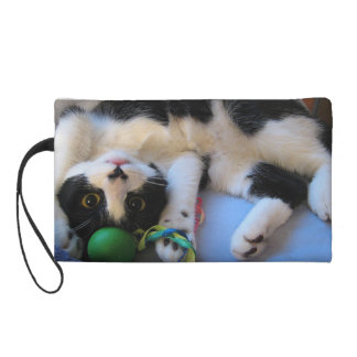 Black and white cat - playful cat - Funny cat Wristlet Purse
