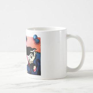 Black and White Cat Playing Coffee Mug