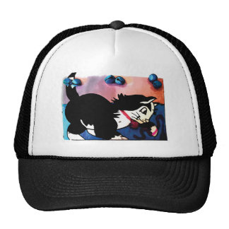 Black and White Cat Playing Trucker Hat