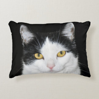 Black and White Cat Portrait Accent Pillow