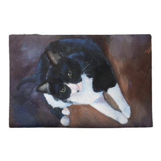 Black and White Cat Portrait Travel Accessory Bags