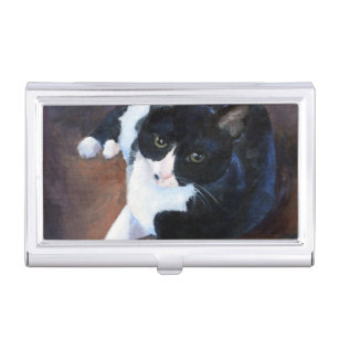 Kitty cat business card holders cases zazzle black and white cat portrait business card holder colourmoves